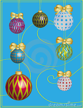 New year card with boluses and holiday ornament