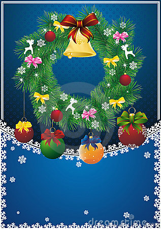 New year card with christmas wreath