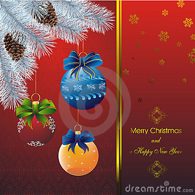 New year card with fir on orient red pattern
