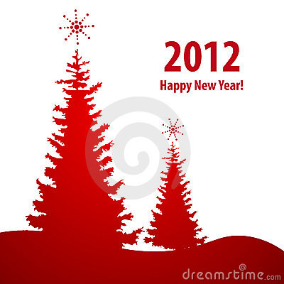 New Year Card with Red Trees