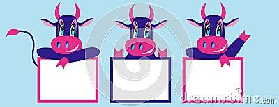 New year cartoon cows