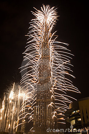 New Year Celebration in Dubai Editorial Stock Photo
