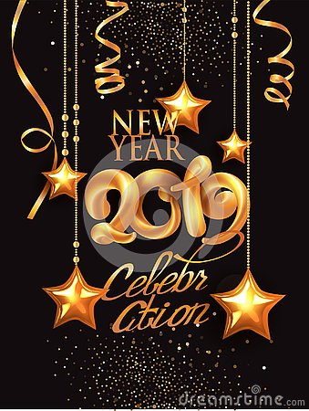 New year 2019 celebration invitation card withgold decorations and volume numbers. Vector Illustration