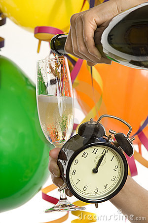 New Year with champagne and clock