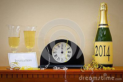 2014 New Year Champagne and clock