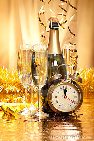 New Year - Champagne, Decoration And Clock Face Stock Photos - Image: 17202593