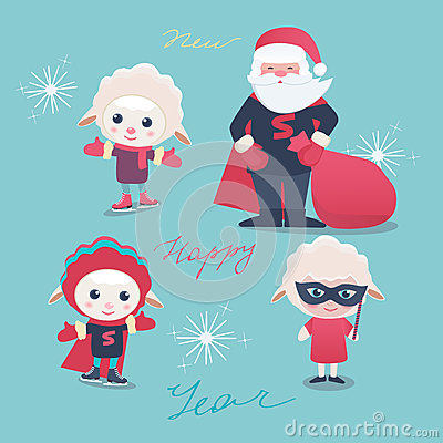 New Year and Christmas characters