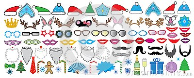 New year Christmas party big set. Photo booth props. Vector. Vector Illustration