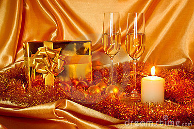 New Year Christmas still life in golden tones