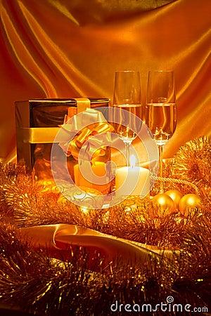 New Year Christmas still life in golden tones