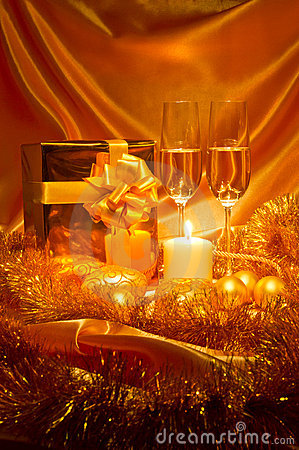 Free New Year Christmas Still Life In Golden Tones Stock Photo - 22404080