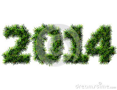 New Year 2014 of christmas tree branches isolated
