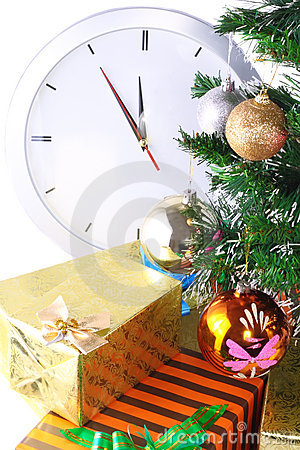 New Year, Christmas Tree,gift boxes,clock.Isolated