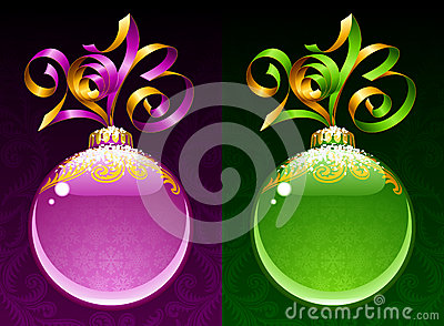 New Year circle frame. Purple and green