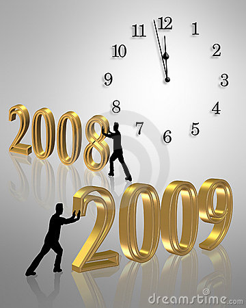 In with the New Year clock 3D  illustration 2009