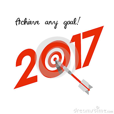 New Year 2017 Concept Target With Dart Instead Of Zero