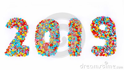 New Year - Confetti numbers 2019 - Isolated on white background Stock Photo