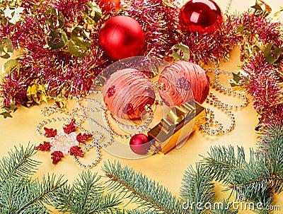 New Year decorations still life on golden