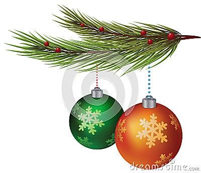 New Year decorative balls hanging on xmas tree
