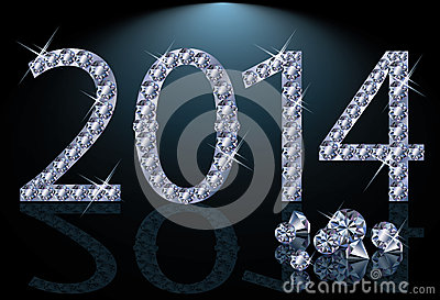New 2014 Year with diamonds