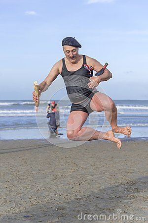 Free New Year Dive At Scheveningen 2018 - Super Dupond Royalty Free Stock Image - 108432376