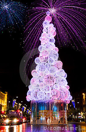 New Year Eve Fireworks And Christmas Tree Stock Photo - Image: 7160500
