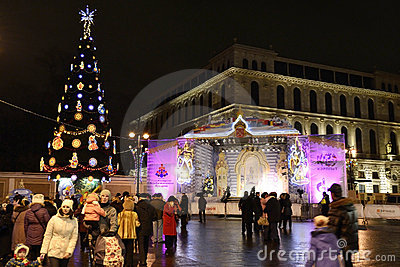 New Year festivities on Ostrovsky Square at night Editorial Image