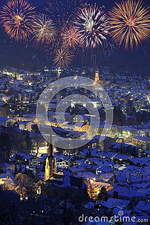 Free New Year Firework Over Garmisch Royalty Free Stock Image - 11580806