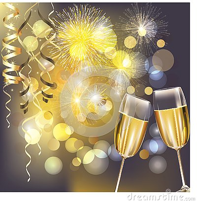 Free New Year Fireworks And Champagne Glasses Stock Photography - 135474392