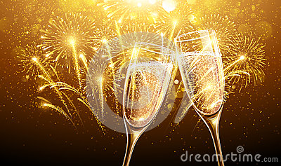 New Year fireworks and champagne Vector Illustration