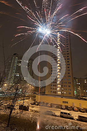 New Year fireworks in residential area of city