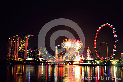 New Year Fireworks on Singapore skyline