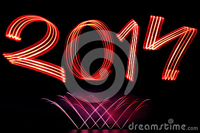 New Year 2014 with Fireworks