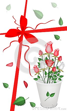 New Year Gift Card with A Lovely Roses Bouquet