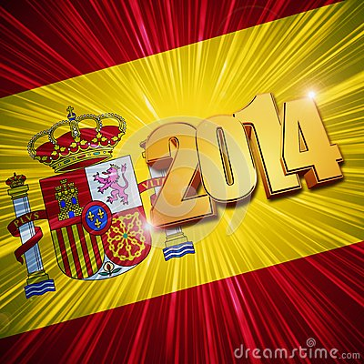 New year 2014 golden figures over shining Spanish flag