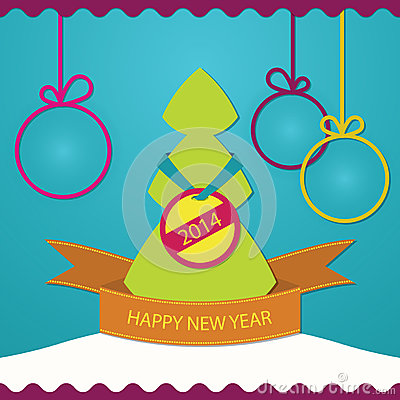 New year greeting card christmas tree