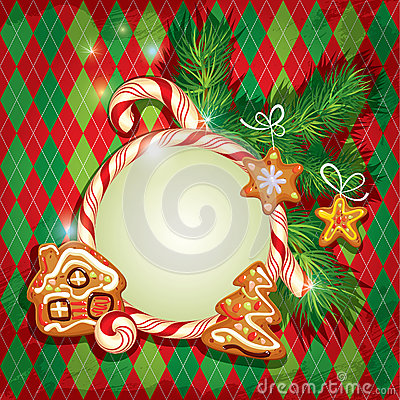 Free New Year Holiday Greeting Card With Xmas Gingerbread  Stock Images - 61289694