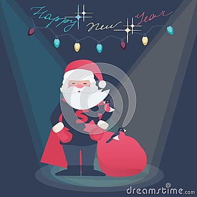 New Year illustration of a Super Hero Santa