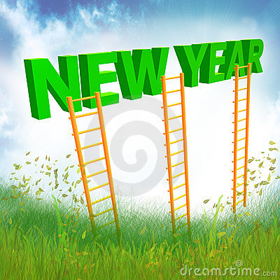 New Year ladder illustration