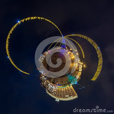 Free New Year Little Planet. Spherical Aerial 360 Degree Panorama Night View On A Festive Square With A Christmas Tree Royalty Free Stock Images - 138802839