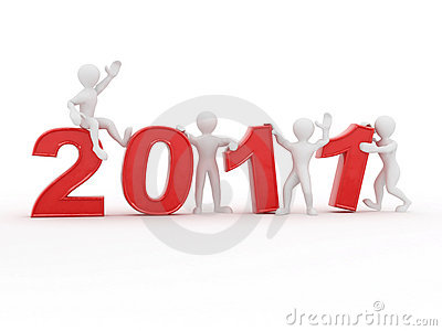 New Year. Men With Numbers 2011 Stock Image - Image: 16748811