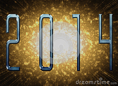 New year 2014 with metal effect and explosion