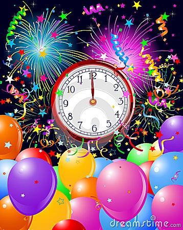 New Year midnight clock background