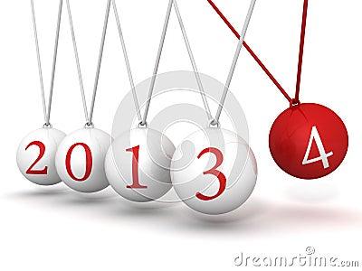 New year 2014 Newton cradle balls