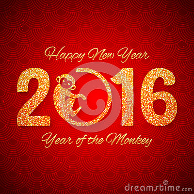 Free New Year Postcard With Golden Text, Year Of The Monkey, Year 2016 Design Stock Photo - 61891920