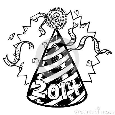 New Year s 2014 party hat sketch