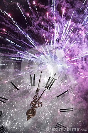 Free New Year S At Midnight - Old Clock And Holiday Lights Stock Images - 45920354