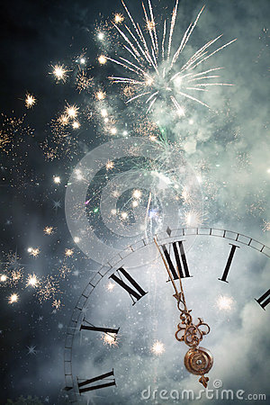 Free New Year S At Midnight - Old Clock And Holiday Lights Royalty Free Stock Photography - 46012287