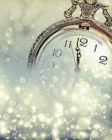 Free New Year S At Midnight - Old Clock And Holiday Lights Stock Photos - 47786363
