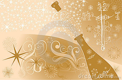 New year s background with clock and sparks of a champagne